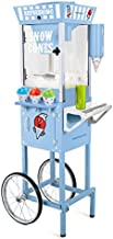 Nostalgia SCC200 54-Inch Tall Snow Cone Cart, Metal Scoop Makes 72 Icy Treats, Includes 2 Syrup Bottles, 100 Paper Cups/Spoons, Storage Compartment, Wheels For Easy Mobility – Blue