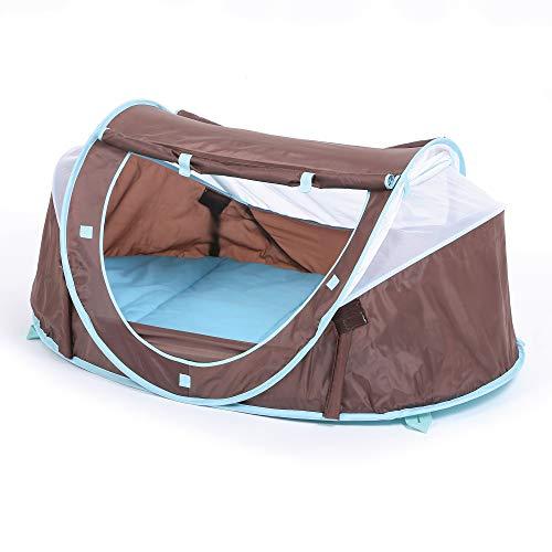 """LUDI - Tente nomade """"Chocolat"""" pour bébé, dès la naissance. Lit d'appoint léger (moins de 2 kg) + matelas épais. Tissu avec Protection UV 50. Se plie et se range facilement dans un sac inclus - 2302"""