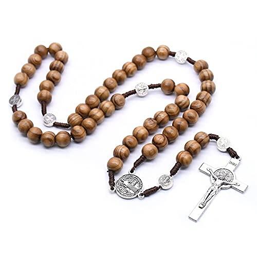 SWAOOS Collar de Rosario de oración con Cuentas de Madera Hecho a Mano Vintage, Cadena de Cuerda, Colgante de Cruz de Jesucristo, joyería de Moda Religiosa, Regalo