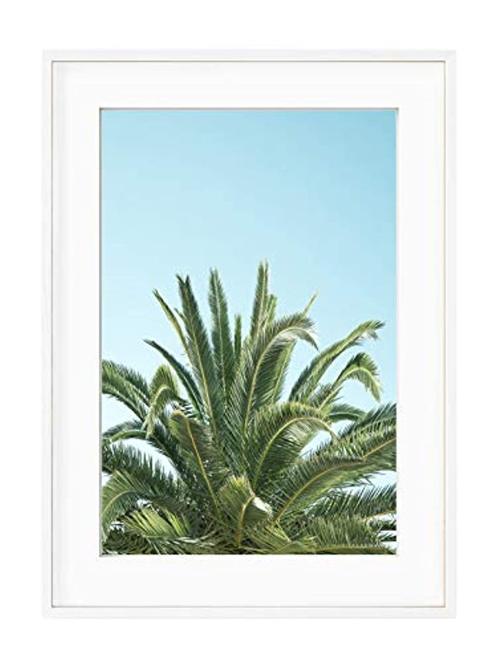 Palm Tree on Blue Background with White Lacquer Wooden Frame and Mount, Multicolored, 30x40