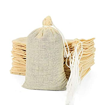 Gonioa 100 Pieces Cotton Bags with drawstring,Reusable Muslin Bag,Multipurpose Drawstring Bags for Tea,Natural Cotton Bags,Sachet Bag,Natural Color  4 x 6 Inches