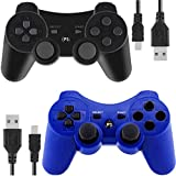 Wireless Controllers for PS3 Playstation 3 Dual Shock (Pack of 2, Black and Blue)