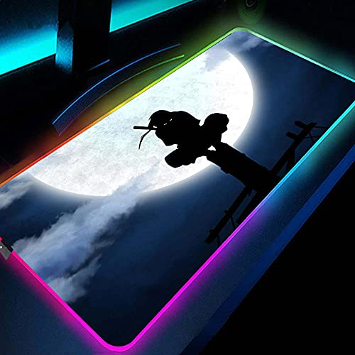 Itachi Anime RGB Gaming Mouse Pads Gamer Computer Large XXL Keyboards Mat Desk Mat for PC Laptop 600x300x4mm