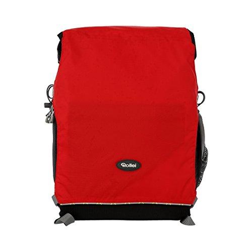 Rollei Traveler Fotorucksack Canyon M - Outdoor Fotorucksack (Daypack), inkl. separatem Einsatz für die Kameraausrüstung, Stativhalterung und Laptopfach - Größe M (25 L) - Sunset (Schwarz/Rot)