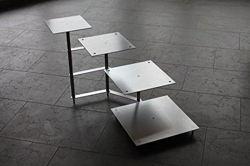 Support à gâteaux 4 étages tortenetagere Aluminium, pièce carré 21 x 21 cm, 26 x 26 31 cm x 31 x 36 x 36 cm
