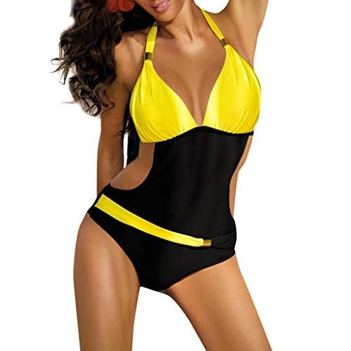 Donna Costumi Interi Imbottite Fantasia Floreale V-Collo Incrociato Colore Backless Costume da Bagno Swimsuit A Schiena Nuda Beachwear Bendare Costume da Bagno