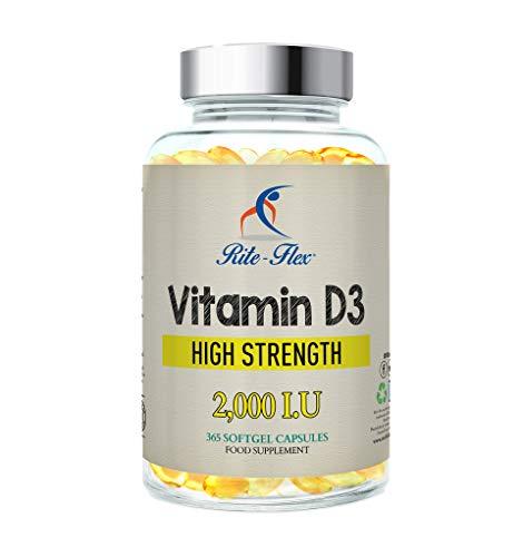 Rite-Flex, Integratore di Vitamina D3 2000 UI (365 Capsule Soft gel)