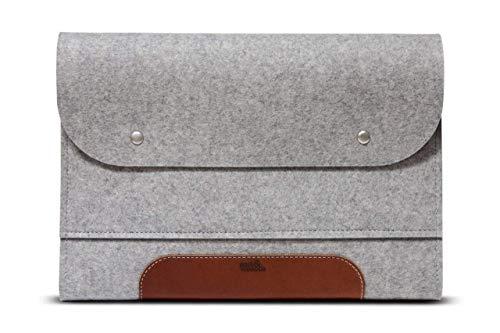 Pack & Smooch 13,3'Funda para portátil de, Laptopbag, MacBook 13' Caso–corriedale M–100% Fieltro de Lana de Merino, Pure Piel de curtido Vegetal–Hecha a Mano en Alemania