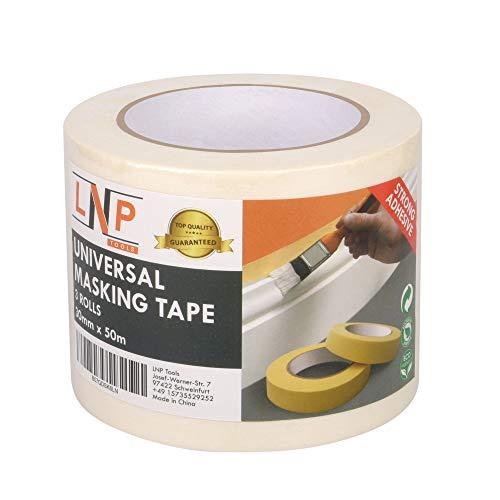 LNP Tools Malerkrepp 30mm x 50m (Extra Stark) Kreppband 3er Pack für Malerarbeiten