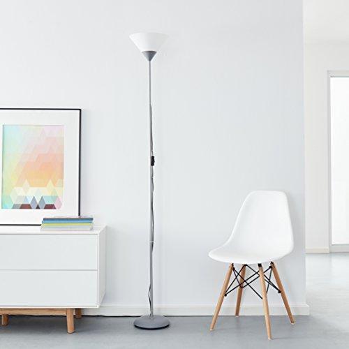Klassischer LED Deckenfluter, 1x 10W E27 LED inkl, 810 Lumen, 2700K warmweiß, Metall/Kunststoff, silber/weiß