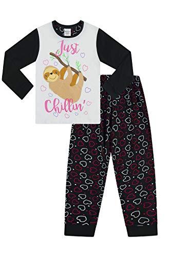 The PyjamaFactory Mädchen Faultier Chillin Mädchen Pyjama lang Baumwolle Pyjama 9-16 Jahre Gr. 15- 16 Jahre, Schwarz