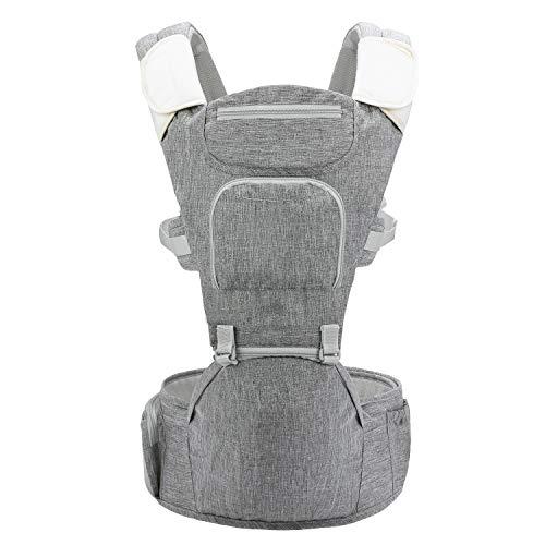 Bamny Babytrage Bauchtrage Kindertrage mit Hüftsitz, 6 in 1 Verstellba,Reine Baumwolle Leicht und atmungsaktiv, Vollständiger Schutz für Neugeborene und Kleinkinder von 0-36 Monate(3.5 bis 15kg)