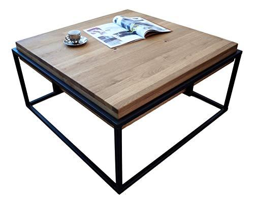 Lumarc GORIZIA, Couchtisch aus massivem Naturholz mit modernem Industrie-Design, Eiche, quadratisch, 75 x 75 x 42 cm