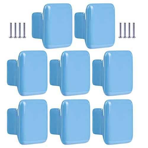 Batop 8Pcs Möbelknöpfe Kinderzimmer, Quadratisch Blau Kinder Möbelgriff Möbelknöpfe Schrankgriffe Türknöpfe Schrankknöpfe Griff Knopf, 35x35x22mm