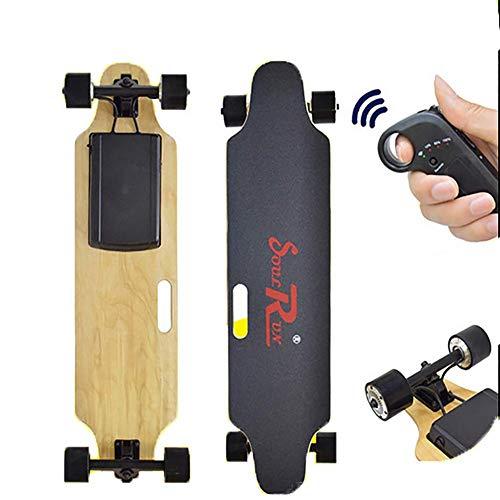 FATSW Elektro Skateboard mit Fernbedienung und Motor, Elektrisches Longboard Höchstgeschwindigkeit 25km/h, bis zu 25km Reichweit, Ahornholz Deck Für Jugendliche Erwachsene