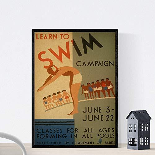 "Nacnic Vintage Poster Vintage Plakat ""Kampagne zu Schwimmen Lernen."" A4-Format"