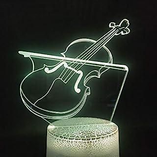 HPBN8 Ltd Créatif 3D Violon Nuit Lampe Art Déco Lampe Lumières LED Décoration Lampes Touch Control 7 Couleurs Change Veill...
