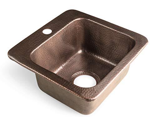 Monarch Abode 17092 Pure Copper Hand Hammered Baxter Bar Prep Single Bowl Kitchen Sink
