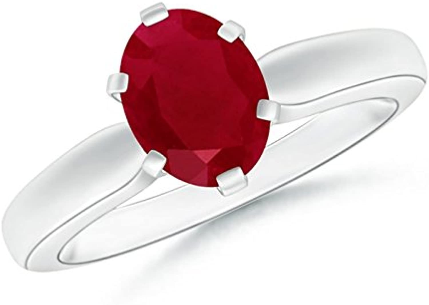 6 Prong Tapered Shank Oval Solitaire Ruby Ring (6x4mm Ruby)