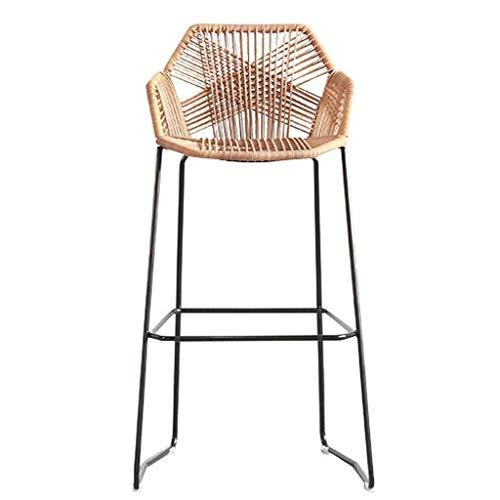 GAXQFEI Barhocker Iron Art Küche Thekenhocker Frühstücksbar Stühle Höhe Hocker Rattan Wicker Barhocker Stuhl für Küche Pub Caf Eacute; Frühstückstheke Esszimmermöbel - 350 Pfund Kapazität,hohe 65cm