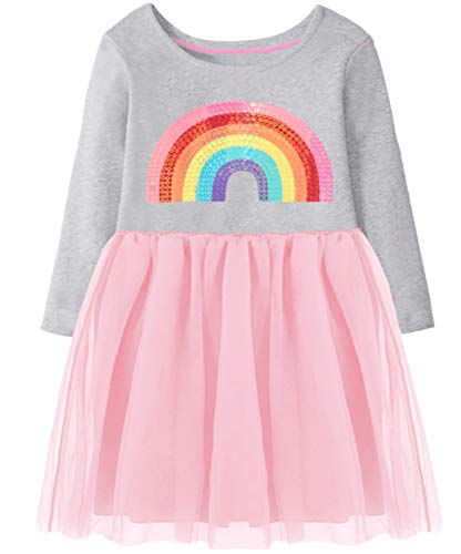 Fiream Girls Long Sleeve Fall Winter Rainbow Sequins Tutu Party Dresses for 2-8 Years Kids(JP307,4-5Y)