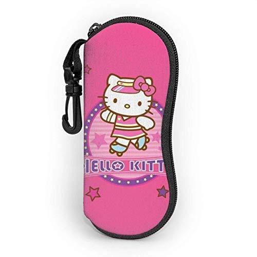 Funda para gafas de Hello Kitty para hombres y mujeres con mosquetón, adolescentes, niños, niñas, bolsas de gafas de sol de moda, funda suave, cierre de neopreno ultraligero