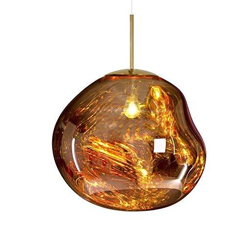 GHHYS Lampada a Sospensione Lampadari Moderni Melt Lampade a Sospensione/Luci Vetro Lava Irregolare Argento/Oro/Rosso Rame Specchio Soggiorno Lampade a Sospensione, Bar, Cucina,d'oro,36CM