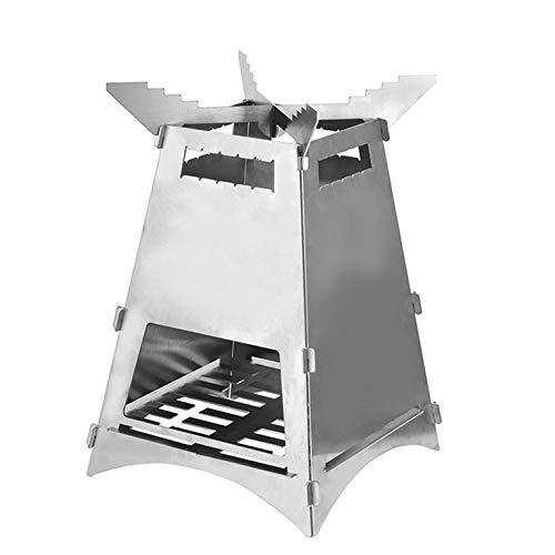 Tree-es-Life BBM-2020 (B) Barbacoa para Acampar al Aire Libre Estufa de Fuego de leña portátil Estufa de Cohete Plegable Desmontable para Acampar Plateada