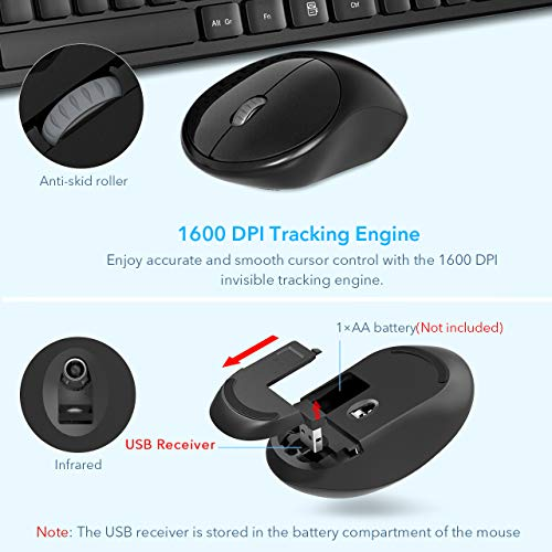 RATEL Wireless Keyboard Mouse Combo, 2.4GHz Slim Full-Sized Silent Wireless Keyboard and Mouse Combo with USB Nano Receiver for Laptop, PC (Black)