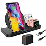 Caricabatterie wireless 3 in 1 KKM, stazione di ricarica wireless, supporto per caricabatterie rapido certificato Qi da 10 W per iPhone 11/11 Pro Max / X / XR / XS Max / 8, Apple Watch Series