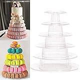 Espositore rotondo a 6 ripiani per cupcake a torre macaron, in acrilico trasparente, per dessert, cibo e pasticceria, per servire feste di compleanno, matrimonio e servire