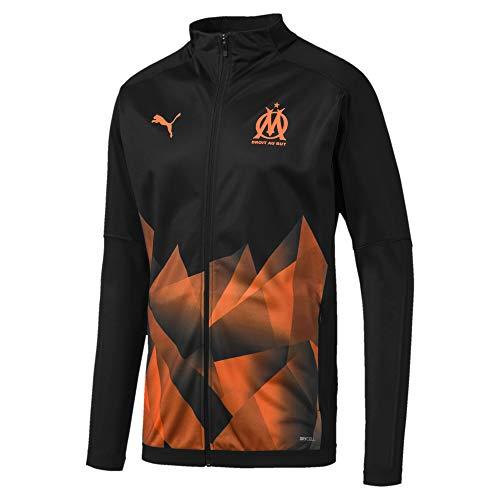 PUMA Olympique de Marseille Herren International Stadium Jacke Puma Black-Orange Popsicle M