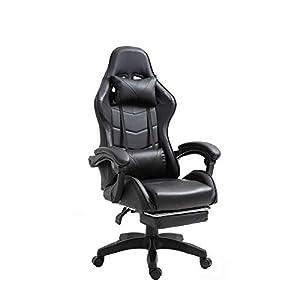 RAC TLV-A1010-BLACK Silla de Oficina PC Gaming Videojuegos Racing Escritorio Sillon Gamer Despacho, Negro - Negro