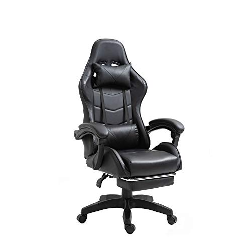 RAC TLV-A1010-BLACK Silla de Oficina PC Gaming Videojuegos Racing Escritorio Sillon Gamer Despacho, Negro - Negro