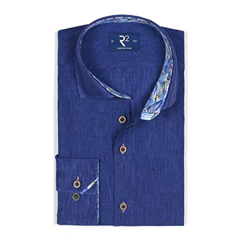 R2 Amsterdam Herren Business Hemd Uni blau 104.WSP.078/014 Blue, 40