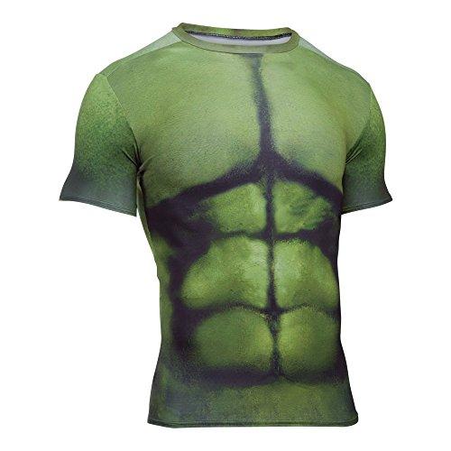 Under Armour T-Shirt de Compression pour Homme Motif Hulk M Vert - Forest Green/Midnight Purple
