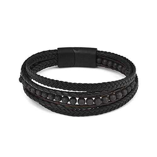 Qingsb mode natuursteen kralen heren armband meerlagige lederen armband punk sieraden roestvrij staal magnetische sluiting armbanden, zwart, 20,5 cm