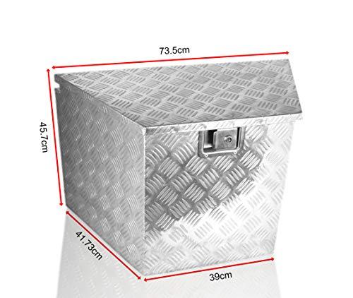 POINSETTIA Aluminum Tool Box Transport Storage for Truck Trailer Tongue Box Drawbar Box 39x73.5x45.7cm, Silver