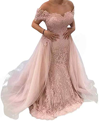 Lace Prom Dresses for Women Off The Shoulder Pink Long Evening Dresses with Detachable Train Wedding Party Gowns