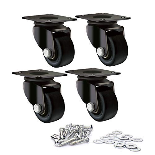 "DGQ Heavy Duty Casters 2"" Swivel Plate Caster Wheels Premium Commercial Grade Non-Marking Durable Nylon castors with 1320 lbs Capacity 4 Pack"