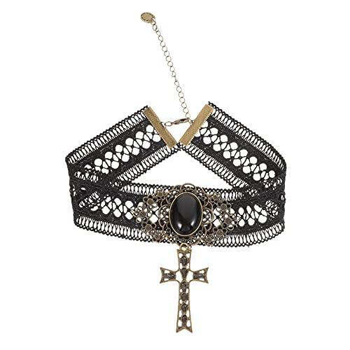 Abaodam Gargantilla de encaje gótico vintage para mujer, gargantilla retro hecha a mano con cruz gótica Steampunk collar pulsera para Halloween boda punk vampiro Lolita fiesta de disfraces