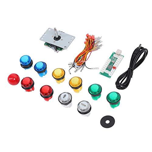 Hopcd DIY Arcade Game Button Set Joystick Controller Kit für PC, für PS3, für Android-System, für OS X Computer, für Raspberry Pi, 15 Gamepad Push Buttons mit Licht