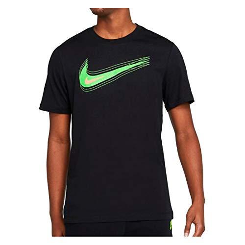 Nike M NSW Tee Swoosh 12 Month T-Shirt, Black/(Mean Green), XL Uomo