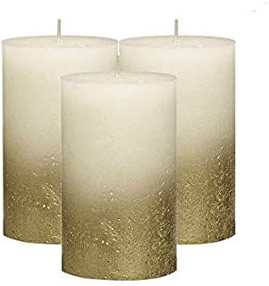 BOLSIUS Rustic Unscented Pillar Candles - Gold with Ivory Coated Bottom Decorative Candles Set of 3 -Burning Dripless Dinn...