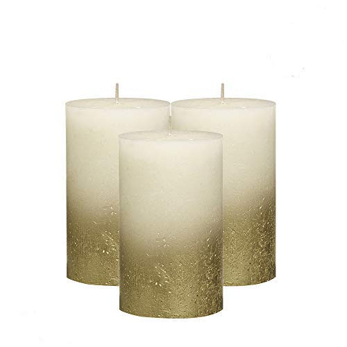 BOLSIUS Rustic Unscented Pillar Candles - Party Spa-Approx 5' X 2.75' Gold with Ivory Coated Bottom Decorative Candles Set of 3 -Burning Dripless Dinner Candles for Wedding & Home Decor