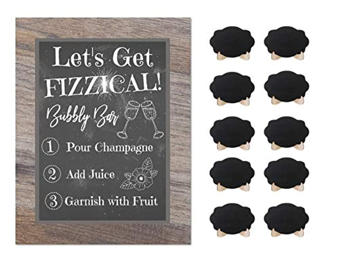 Champagne Mimosa Bubbly Bar Rustic Chalkboard Sign Wedding Shower Buffet Supplies with 10 Small Mini Chalkboards Accessories