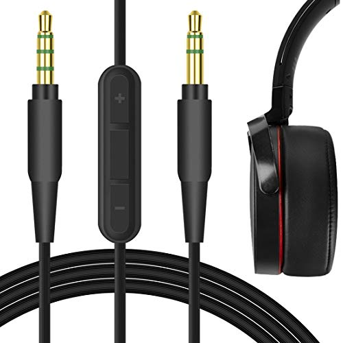 Geekria Audio Cable with Mic for Sony WH-1000XM3 WH-1000XM4 MDR-XB950BT XB950N1 XB950B1 WH-CH700N WH-XB900N Headphones, 3.5mm Replacement Stereo Cord (Black, 5.6ft)