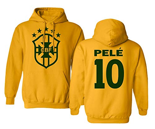 Spark Apparel Soccer Legends #10 Pele Jersey Style Boys Girls Youth Hooded Sweatshirt (Gold, Youth Large)