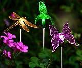 Solarleuchten Garten Solar Stableuchten Farbwechsel LED Libelle Kolibri Schmetterling Wasserdicht Solarlampen Außen Dekoration Lichter für Garten, Balkon und Terrasse
