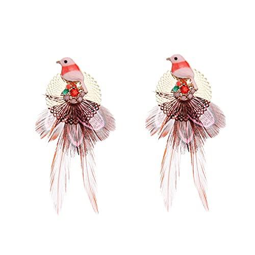 GYAM Orecchini tre Colori Piuma Orecchini Birdie Orecchini Creativi Fatti A Mano Bellissimo Stile Etnico per Compleanni/Vacanze/Eventi (Regala Braccialetto),Rojo